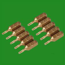"""2x T8 25mm Gold Screwdriver Bits Titanium Coated 1/4"""" Torx Drive S2 Steel"""