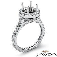 Halo U Cut Prong Set Round Semi Mount Diamond Engagement Ring Platinum 950 1.5Ct