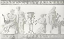 Wallpaper Border Designer Greek Roman Statues Gray Metallic Silver on White