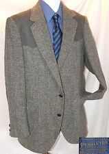 Pendleton Wool Blazer Size Men's MT Made in USA Gray Leather Shoulders & Elbows