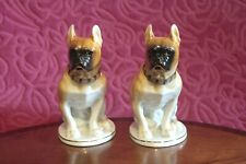 More details for ussr russian lomonosov pair of french boxer bull dogs 21 cm tall