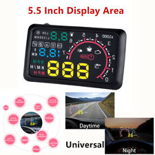 "5.5"" Car OBD2 HUD Head Up Display Fuel Consumption Speed Warning System Battery"