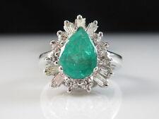 14K Emerald Diamond Ring Estate Ballerina Pear Green Baguette Cluster Cocktail
