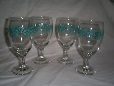 Set of 4  16.25 Oz Goblets Made in the U.S.A.-Lovely Aqua & Teal Aztec Pattern