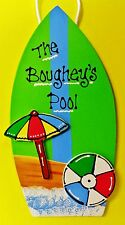 Green Pool Surfboard Personalized Name Sign Tropical Beach Tiki Bar Deck Plaque