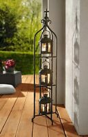 Metal Candle Lanterns with Stand - Three-tier Lantern Stand for Yard