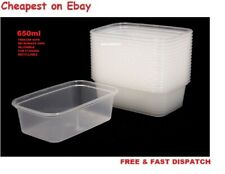 25x650ml Food Containers PlasticTakeaway Microwave Freezer SafeStorage BoxesLIDS