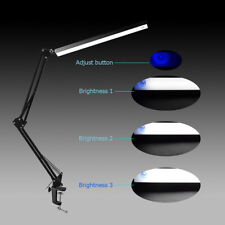 LED 6000K Desk Light Lamp w/ Clamp Stepless Dimmable 8W Adjustable Arm Black
