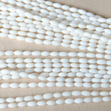 """White 6×3mm Small Oval Rice Bamboo Coral Gemstone Beads 15"""""""