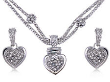 Silver Crystal Rhinestone Big Full Heart Chain Rope Necklace Pendant Earring Set