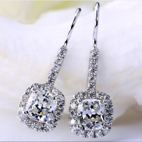 Luxury Princess Cut White Sapphire CZ Dangle Hook Earrings 925 Silver Jewelry