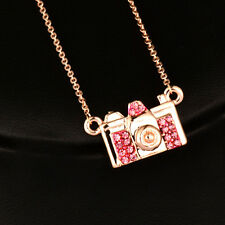 18K Rose Gold Plated Lovely Pink Cubic Zircon Camera Choker Necklace