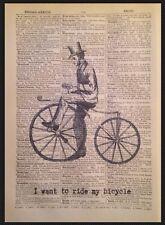 Steampunk Vintage Bicicleta Bici impresión Diccionario página Pared Arte Imagen citar