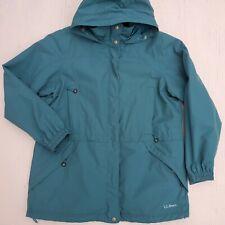 LL BEAN Women's Lrg-Reg Hooded Rain Coat Peacock Green Nylon Zip Pockets Jacket