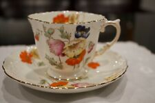VINTAGE Aynsley HAND PAINTED Poppy Flowers Tea Cup and Saucer*****