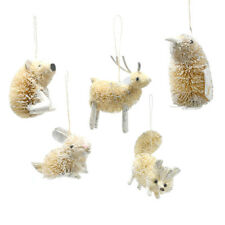 buri woodland animal christmas ornaments ivory 5 piece - Animal Christmas Decorations