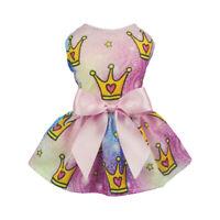 Fitwarm Pink Crown Dog Dress Summer Pet  Clothes Princess Apparel Shirt Party