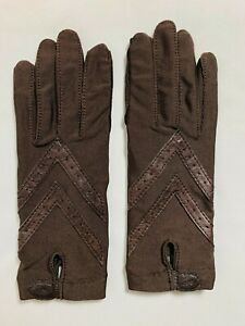 Vintage Aris Isotoner Stretch Leather Padded Driving Gloves One Size - Brown