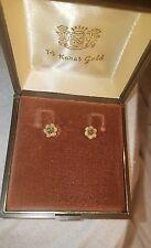 14-karat gold emerald stone earrings.  VINTAGE