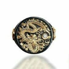 Chinese Dragon Carved Men's 18K Black Gold Plated Ring Party Jewelry Size 6-13
