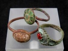 RARE LOT OF 3 pcs. ANTIQUE GLASS STONES WEDDING RINGS, METAL DETECTOR FINDS!!!