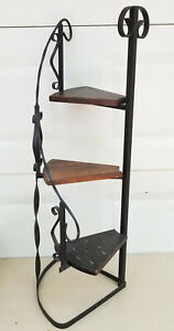 "VINTAGE MEXICAN WROUGHT IRON and WOOD SPIRAL DISPLAY PLANT STAND ~ 38"" H"