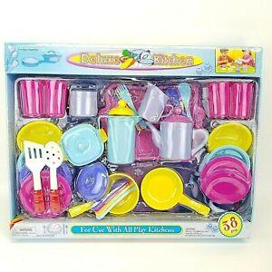 39 pc Pretend Play Kitchen Cooking Set Pans Dishes Tea Coffee Pot Utensils 3+