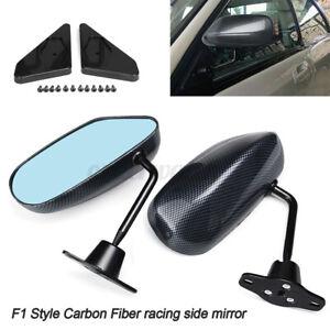 F1 Style Carbon Fiber Look Universal Car Racing Door Side Rearview Wing Mirrors