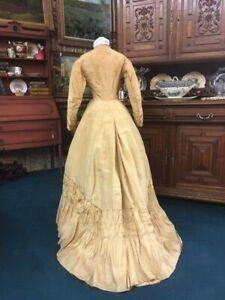 #21-091, Striking 1860s Gold Silk One Piece Gown