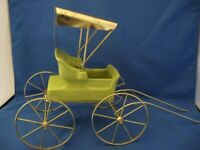 """Vintage Metlox """"Poppytrail"""" Ceramic Carriage w/Metal Hood and Wire Support."""