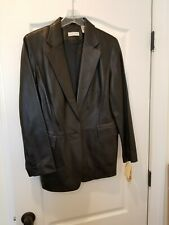 Lord & Taylor Women's Vintage Black Leather Jacket One Button Size 12 MSRP $300