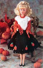 Crochet Pattern Only: Barbies Fall Dress w/ Pumpkins & Lacy Shawl ~ Halloween