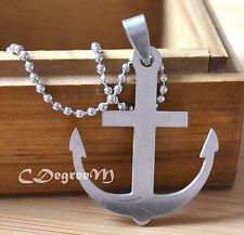 361L Stainless Steel Anchor Men Women Pendant w Chain Necklace Unique Long Chain