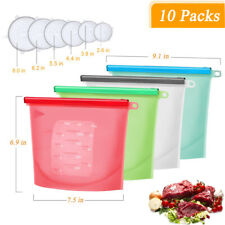 Silicone Food Storage Bags Bundle | 4 Reusable Silicone Bags, 6 Stretch Lids