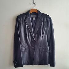 Banana Republic Black Super-soft Leather Blazer Jacket, Fully Lined, Size 4 NWHT