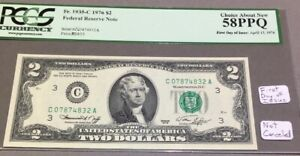 1976 $2 - First Day Of Issue - PCGS 58 PPQ - Not Canceled - Rare