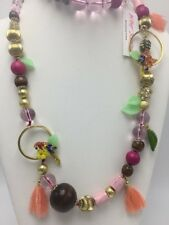 $145 Betsey Johnson Tropical Punch Statement Long Necklace K1S