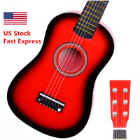 """New 23"""" Wood Toy 6 String Children's Acoustic Guitar+ Pick + Strings Red Color"""