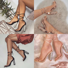 Women Ankle Strap Lace Up Sequin High Block Heels Chunky Party Sandals Shoe Size