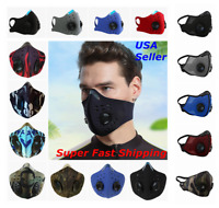 Face Mask Covering Shield with Valves Reusable Washable Activated Carbon Filter