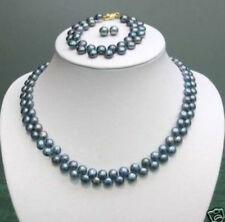Necklace Bracelet Earrings Set Aa Natural 7-8mm Black Akoya Real Pearl