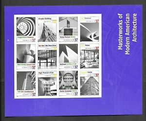 """US, SC#3910 """"MASTERWORKS MODERN AMERICAN ARCHITECTURE"""" Complete sheet of 12 MNH"""