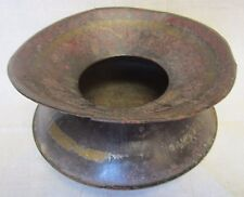 Antique 19c Metal Spittoon Decorative Arts Old Red Yellow Black Paint Patina