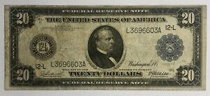 1914 $20 FEDERAL RESERVE NOTE, SAN FRANCISCO, FR-1008, FINE!
