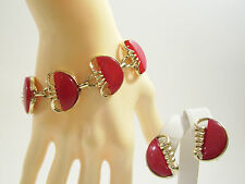 CHERRY RED THERMOSET Link Bracelet and Clip Earrings Set Gold Plated Vintage