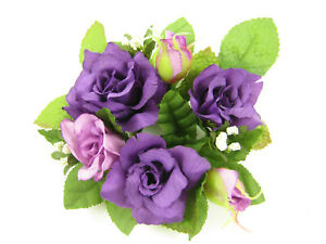 6x Artificial Silk Flowers Purple Rose Candle Rings Wedding Table Decoration