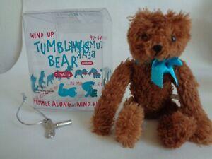 7-inch Wind-up Tumbling Plush Bear w/Key & Orig. Box