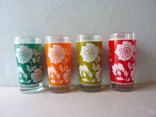 4 grands verres à eau, soda, décor de fleurs, 4 couleurs, vintage