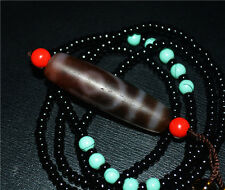 tibetan dzi bead 2 eyes agate eyed two cinnabar antique gzi real amulet necklace
