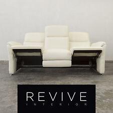 Designer Leder Sofa Creme Weiß Dreisitzer Couch Relax Funktion Modern Echtled...